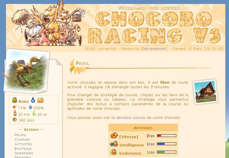 Ouverture de Chocobo Racing v3