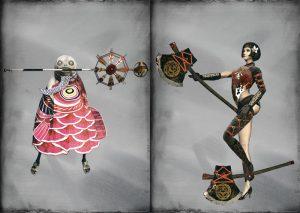 Deux exemples de nouvelles tenues pour nos protagonistes