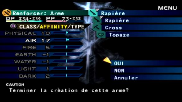 Sur cet exemple, ma rapière possède une forte affinité avec l'air et sera donc très efficace contre les adversaires de type terre